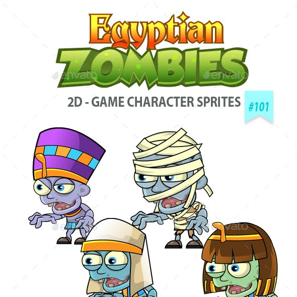 6 Egyptian Zombies 2D Game Character Sprites