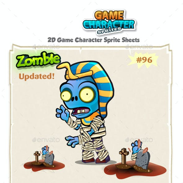 Zombie 2D Game Character Sprites 96