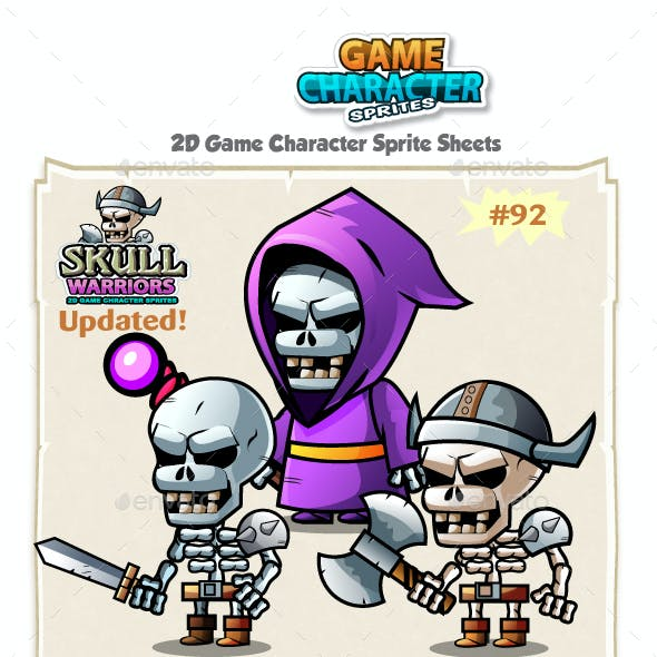 Skull Warriors 2D Game Character Sprites 92