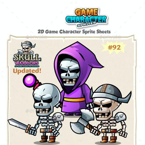 Skull Warriors 2D Game Character Sprites 92