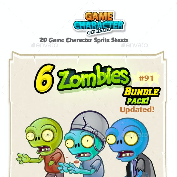 6 Zombie Characters Sprites Bundle Pack 91