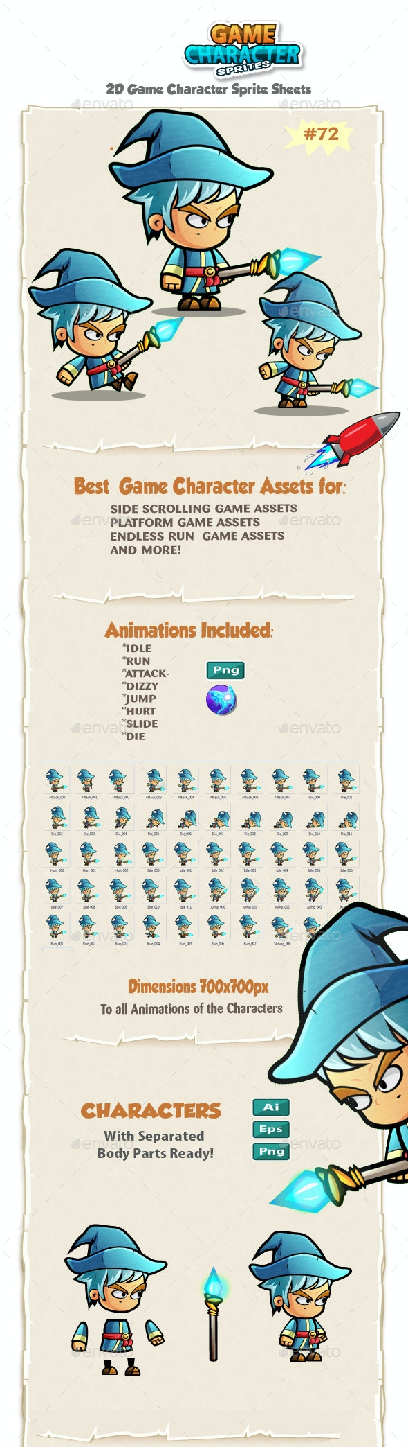 Mage Game Character Sprites 72 - Sprites Game Assets