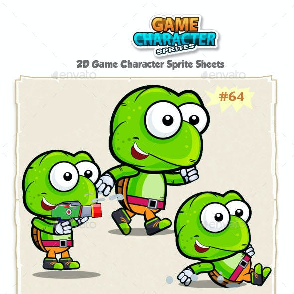Turtle 2D Game Character Sprites 64