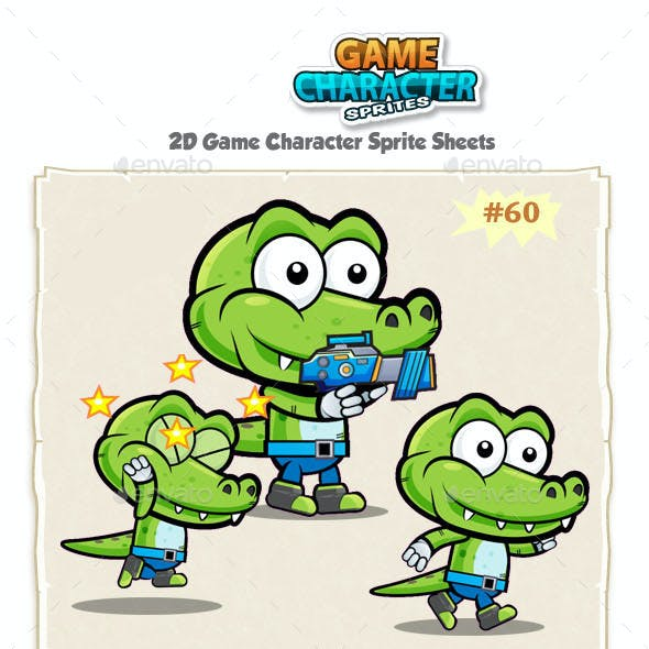 Crocodile 2D Game Character Sprites 60