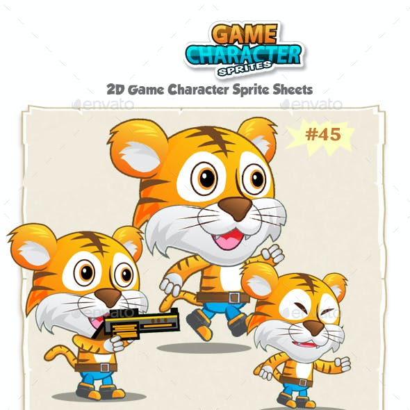 Tiger 2D Game Character Sprites 45
