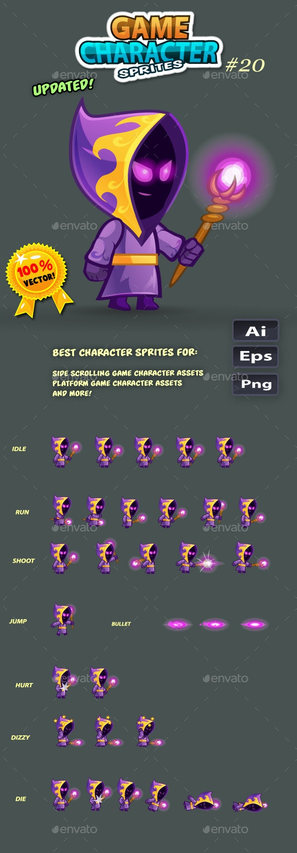Mage 2D Game Character Sprites 20 - Sprites Game Assets
