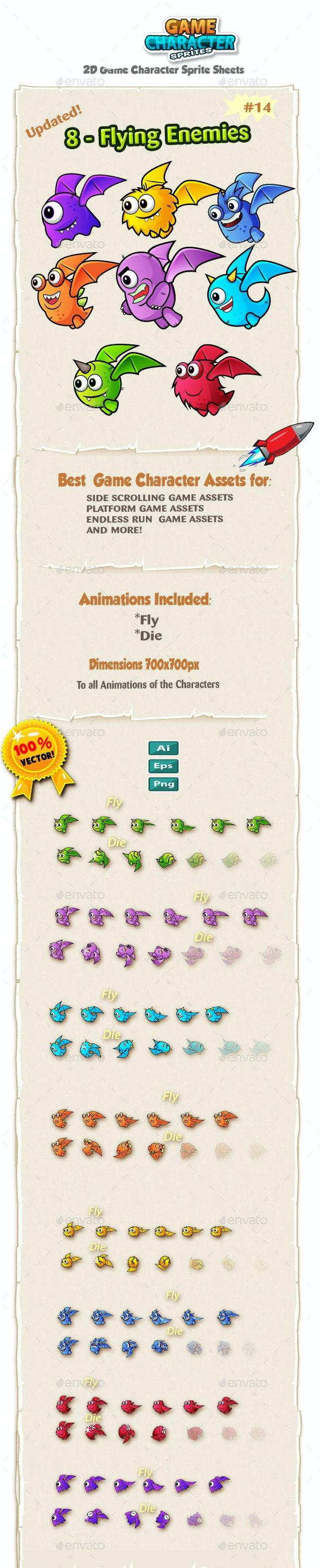 8 Flying Monster Enemies 2D Game Character Sprites - Sprites Game Assets