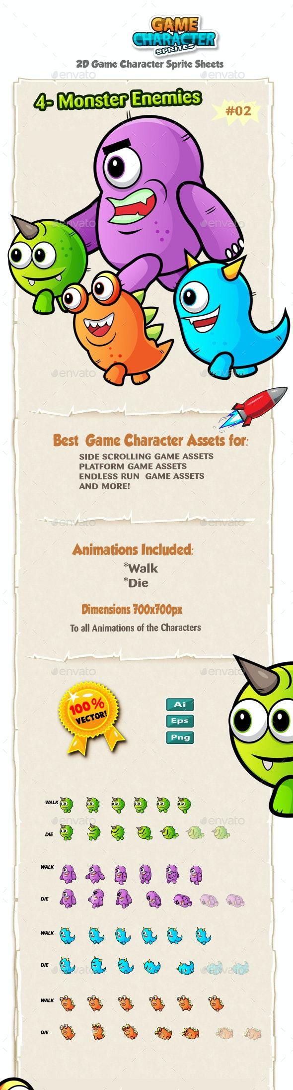 Monster Enemies 2D Game Character Sprites 02 - Sprites Game Assets