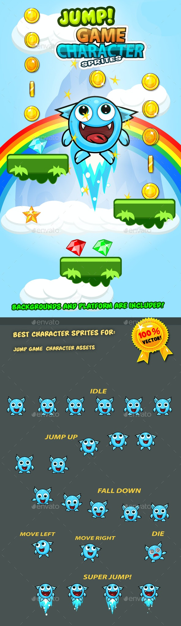 Jump Game Character Sprites 11 - Tilesets Game Assets