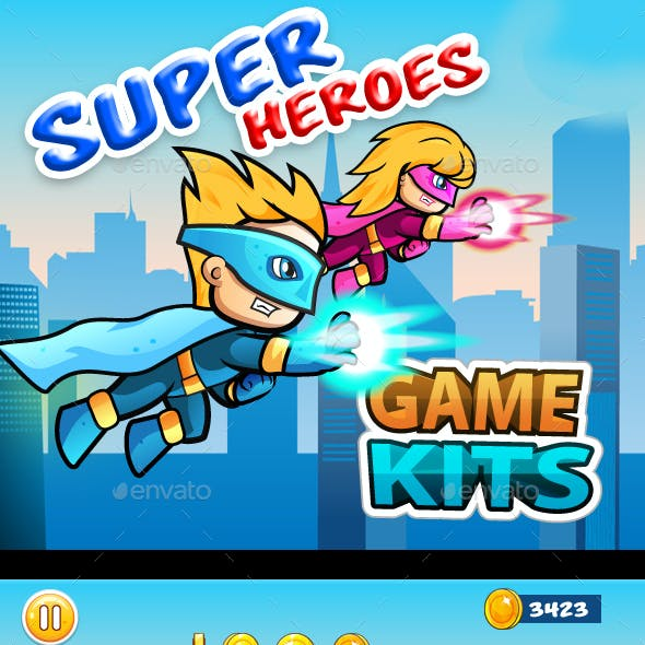 Super Heroes Side Scrolling Game Assets