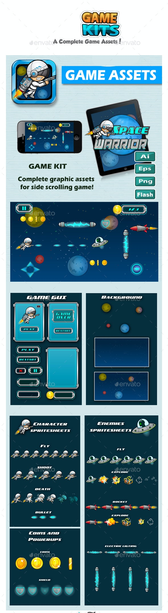 Game Assets - Space Warrior - Game Kits Game Assets