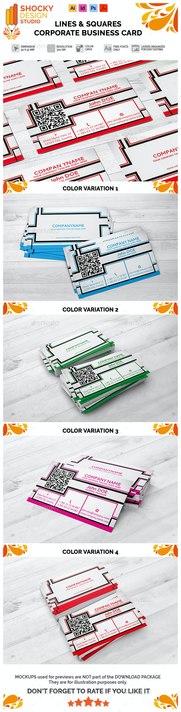 Corporate Business Card Lines & Squares Template - Corporate Business Cards