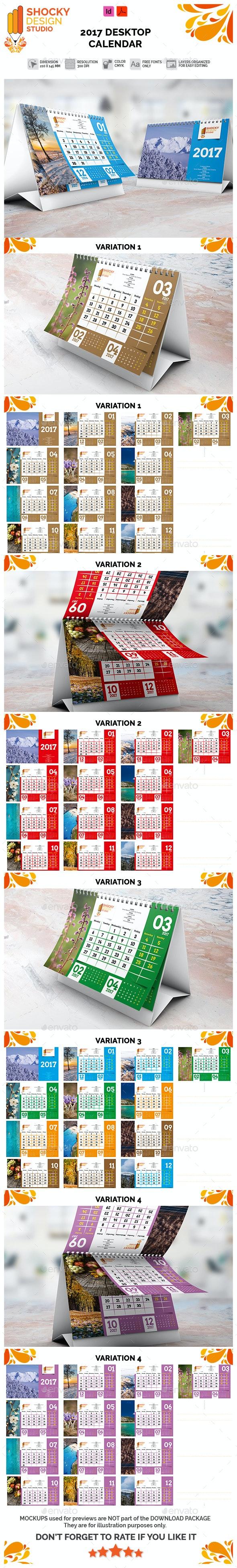 2017 Desktop Calendar Template - Calendars Stationery
