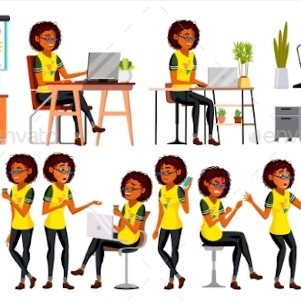 Business African Black Woman Character Vector.