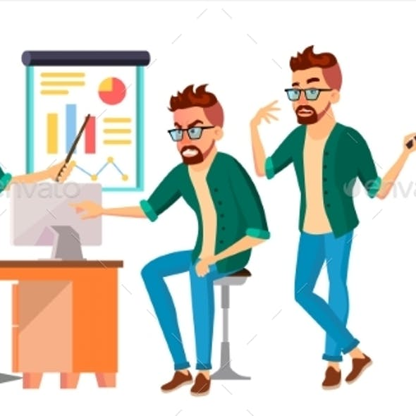 Business Man Character Vector. Hipster Working