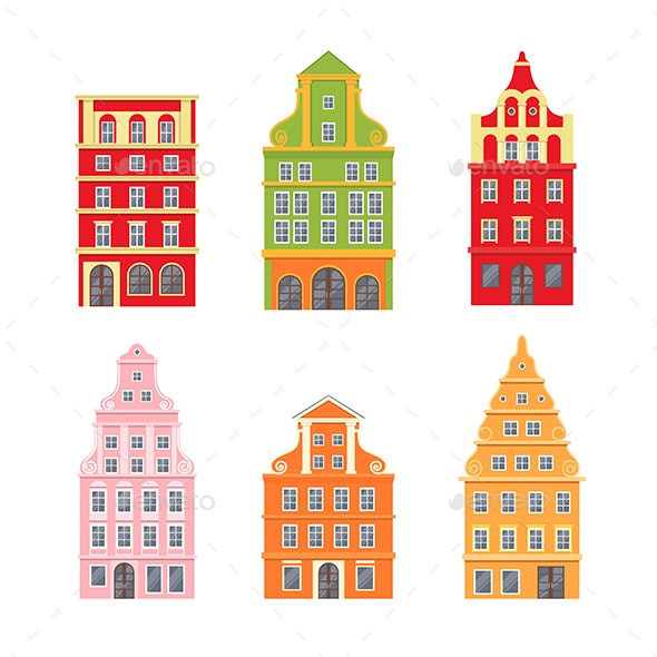 Set of Decorative Netherland Houses Icons - Buildings Objects