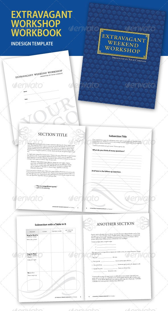 Extravagant Workshop InDesign Workbook - Miscellaneous Print Templates