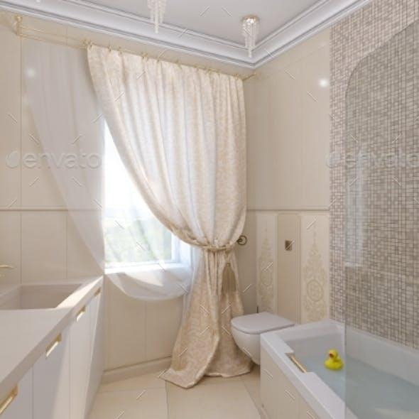 3D Render Luxury Bathroom Interior Design