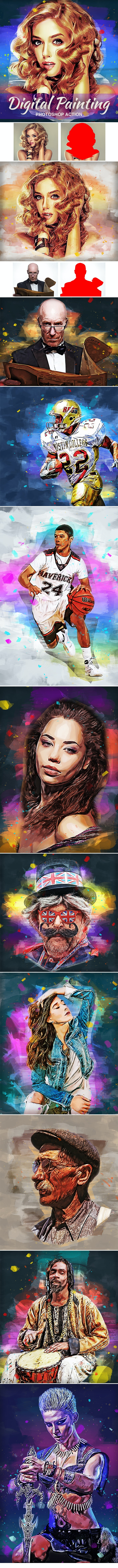 Digital Painting Photoshop Action - Photo Effects Actions