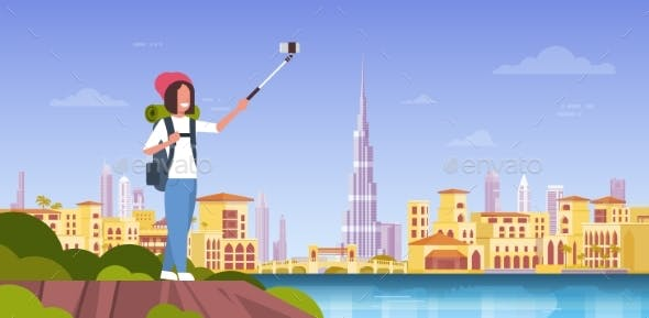 Woman Tourist With Backpack Taking Selfie Photo
