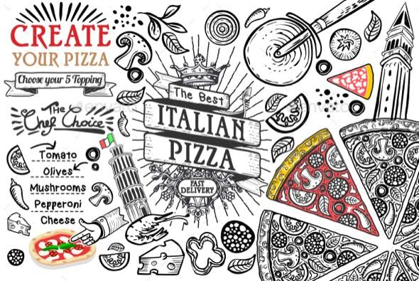 Italian Food Ingredients Pizza Doodle