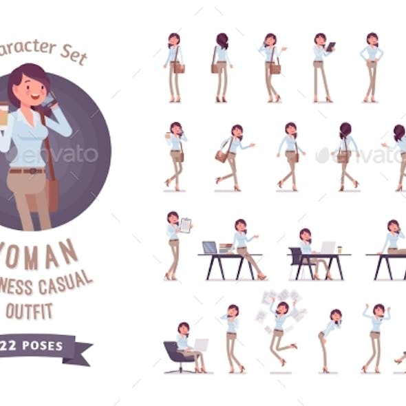 Young Business Casual Woman Ready-to-use Character