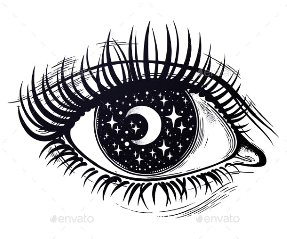 Eye with a Pupil As a Night Starry Sky with Moon