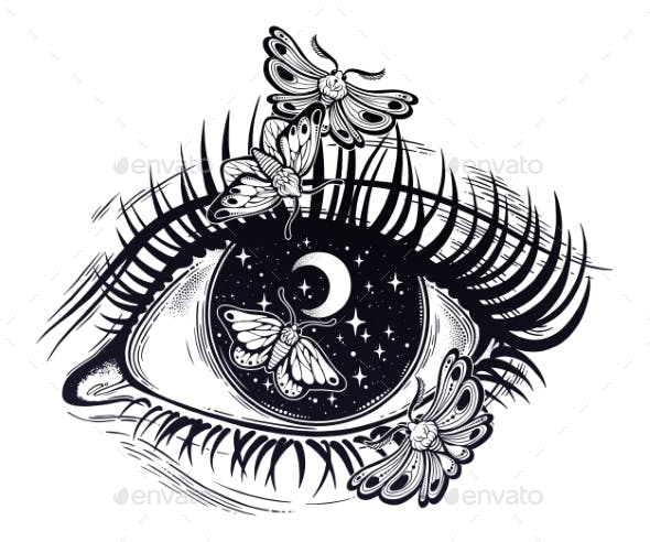Eye Pupil As a Night Sky with Moth Butterfly.