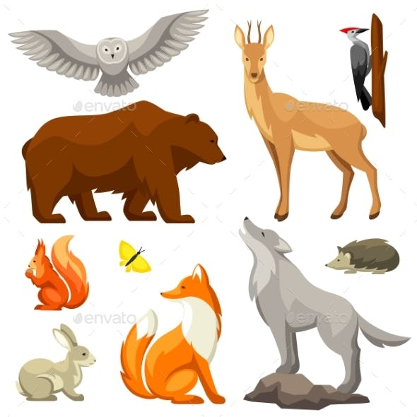 Set of Woodland Forest Animals and Birds.