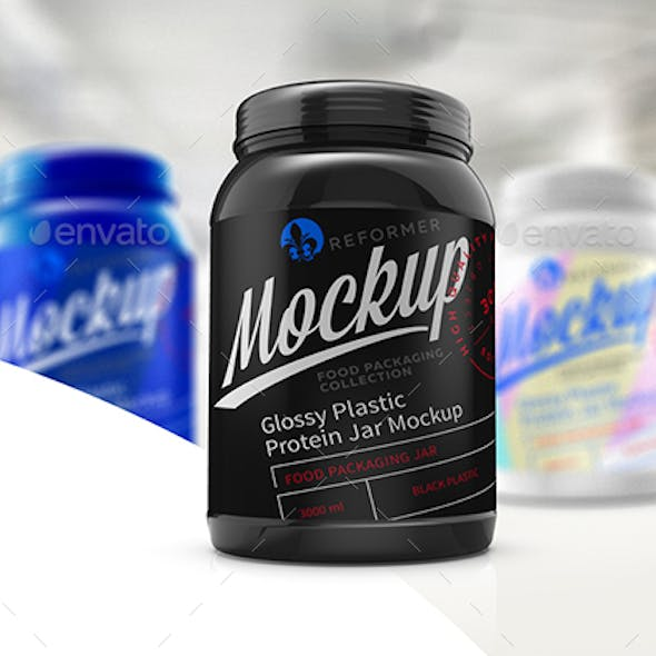 Glossy Plastic Protein Jar Poster Mockup