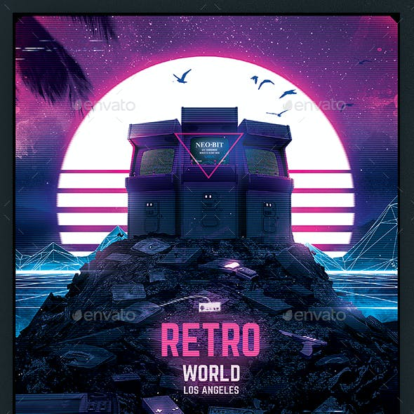 Retro Gaming Flyer v7 Synth World Neon Gaming Template