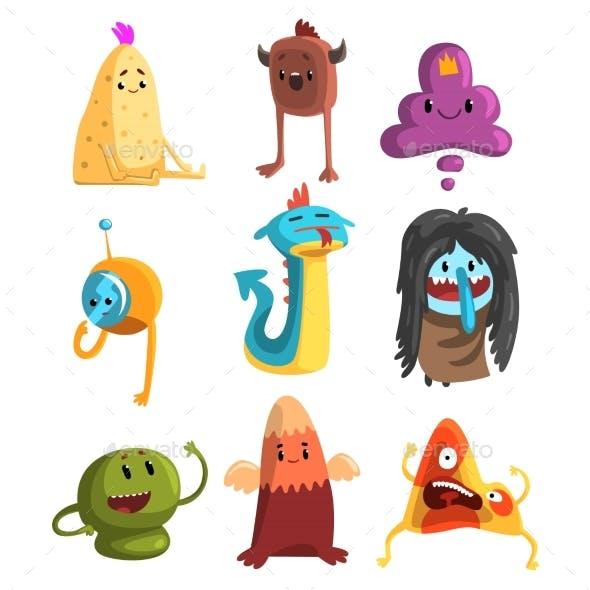 Cartoon Flat Vector Set of Monsters