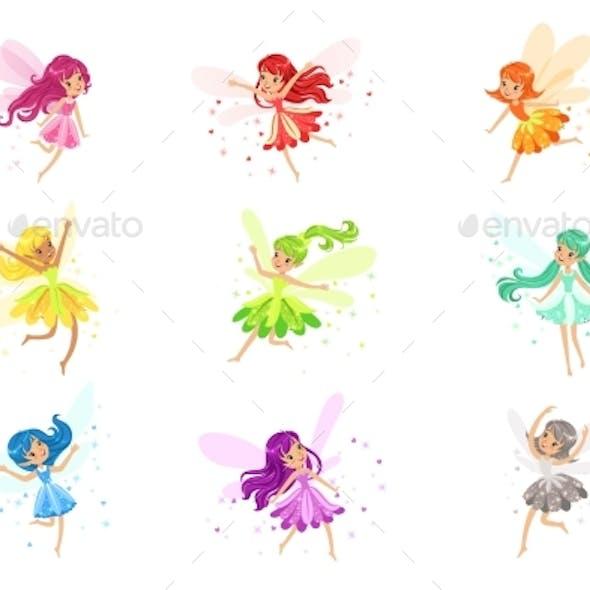 Colorful Rainbow Set of Fairies