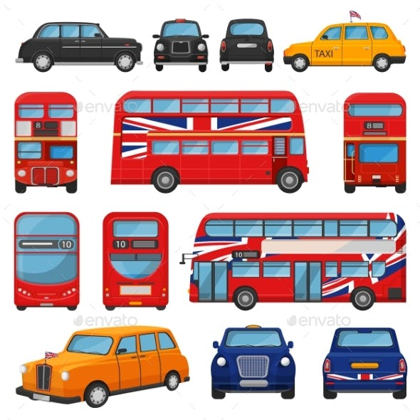 London Car Vector British Cab Taxi and UK Red Bus