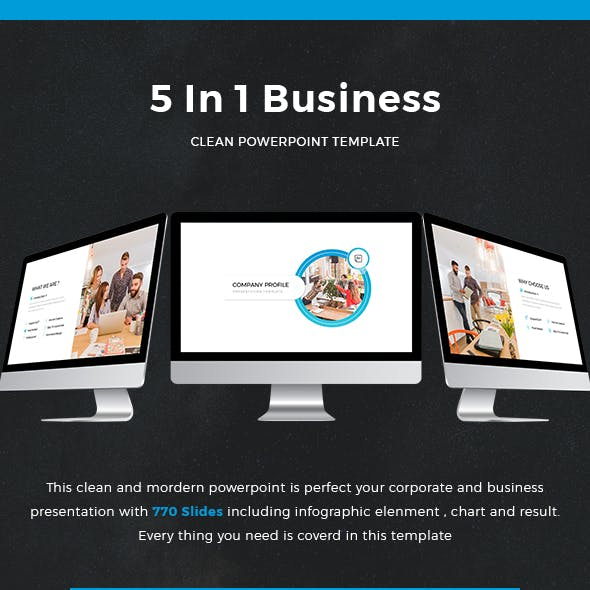 Bundle 5 In 1 Clean Business Powerpoint Template