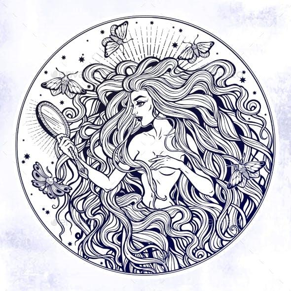 Boho Diva Woman with Mirror Illustration