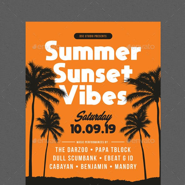 Summer Sunset Vibes Party Flyer