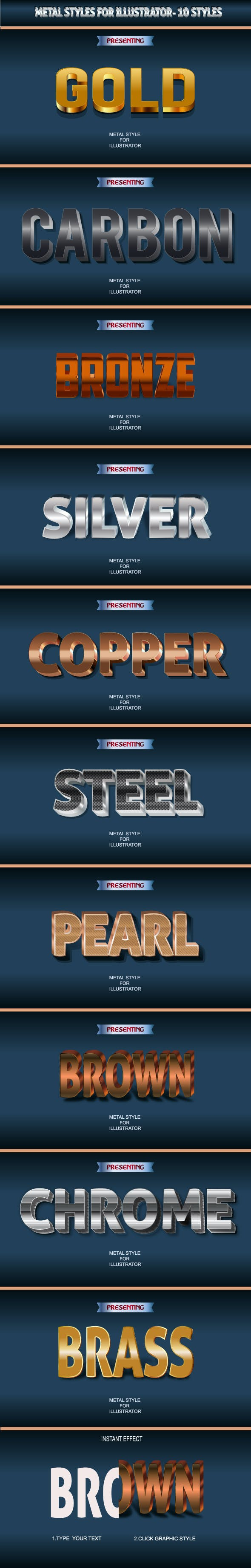 Metallic Graphic Styles for Illustrator