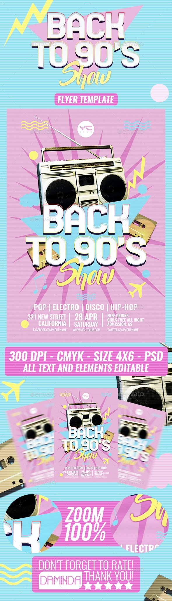 90s Party Flyer Template - Clubs & Parties Events
