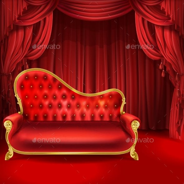 Theater Vector Concept with Red Sofa