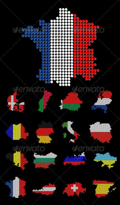 16 Dotted European Countries - Miscellaneous Vectors