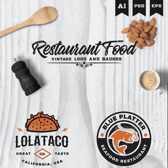 Restaurant Food Cafe Modern Vintage Multipurpose Logo and Badges