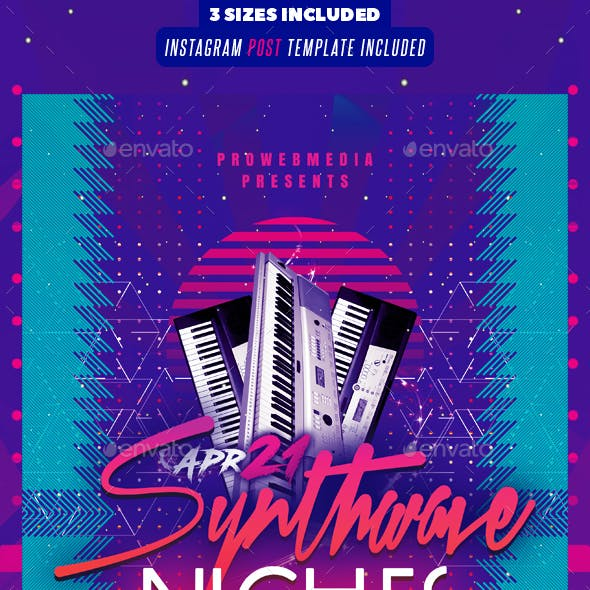 Synthwave Party Flyer