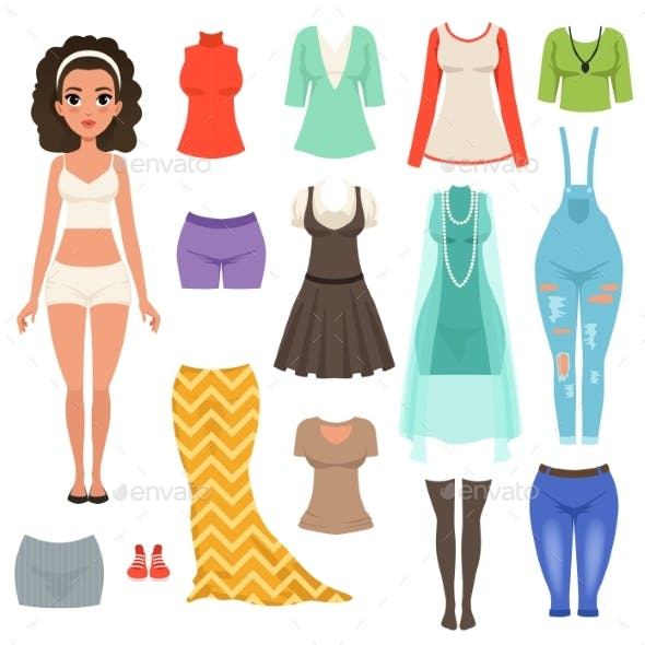 Flat Vector Set of Womens Clothes Items