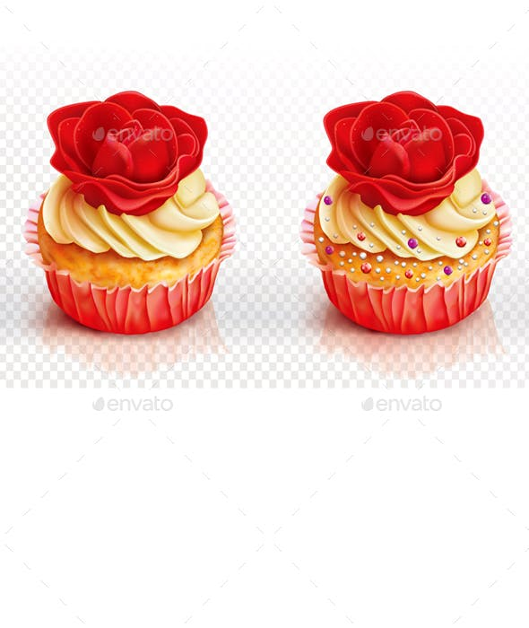 Two Cupcake with Red Rose