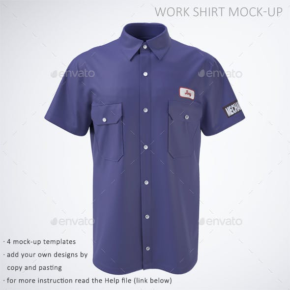 Work Shirt with Short Sleeves Mock-Up