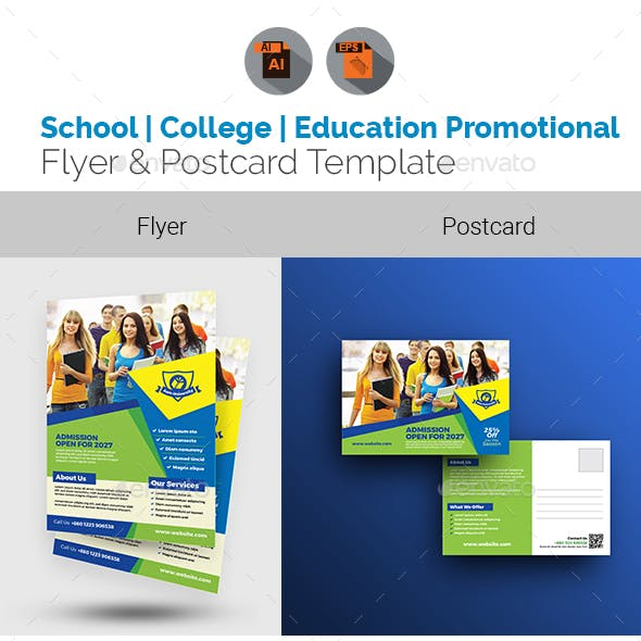 Education Promotional Flyer & Postcard Bundle