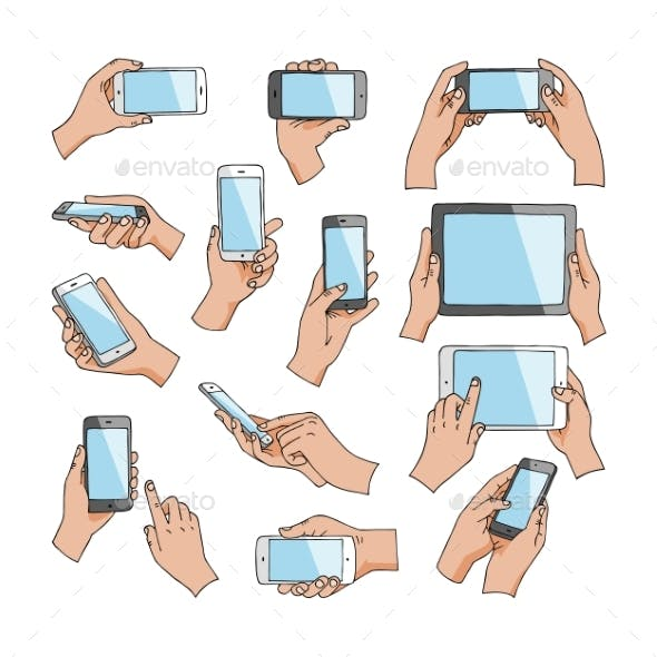 Hands with Gadgets Vector Hand Holding Phone