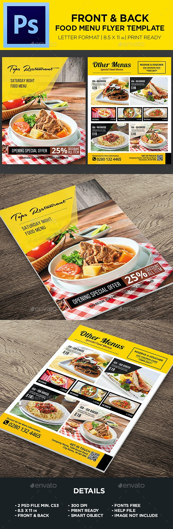 Restaurant Menu - Food Menu Flyer - Food Menus Print Templates