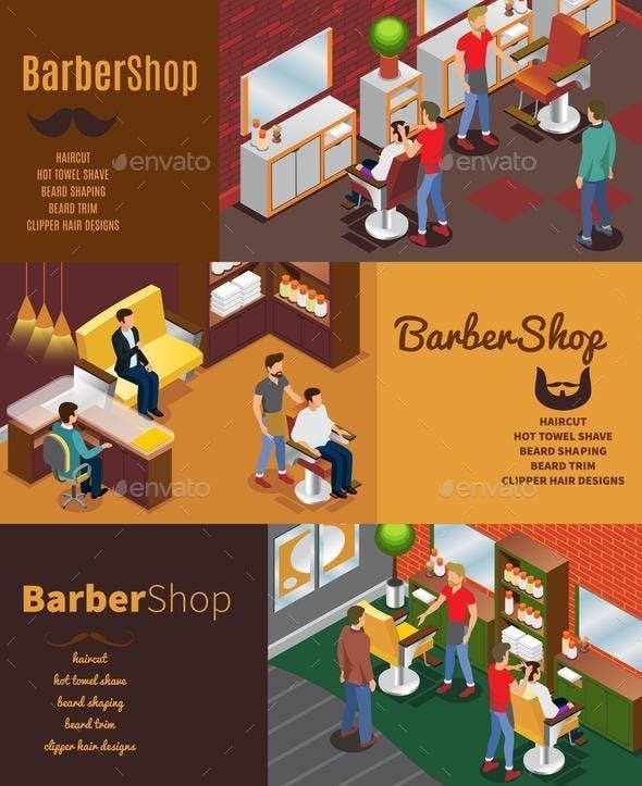 Isometric Barber Shop Horizontal Banners